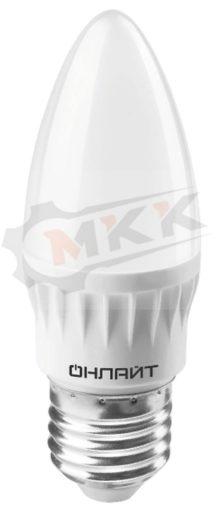Лампа светодиодная LED 8вт E27 белый матовая свеча