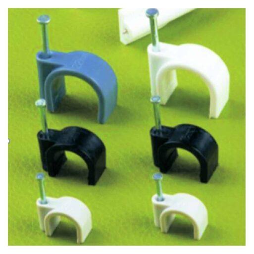 Скобы пластиковые с гвоздем для круглых кабелей и проводов